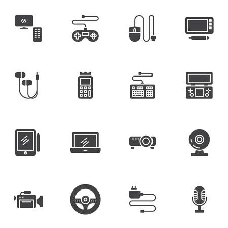 Gadgets and devices vector icons set, modern solid symbol collection, filled style pictogram pack. Signs, logo illustration. Set includes icons as television set, laptop computer, graphic tablet, mic