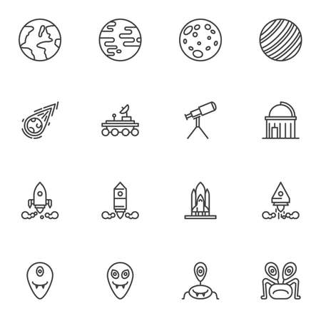 Space, cosmos line icons set, outline vector symbol collection, linear style pictogram pack. Signs logo illustration. Set includes icons as planets, meteor, moon rover, telescope, space shuttle rocket