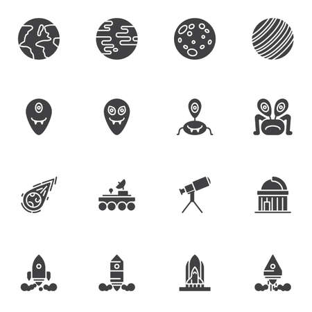 Space, cosmos vector icons set, modern solid symbol collection, filled style pictogram pack. Signs logo illustration. Set includes icons as planets, meteor, moon rover, telescope, space shuttle rocket