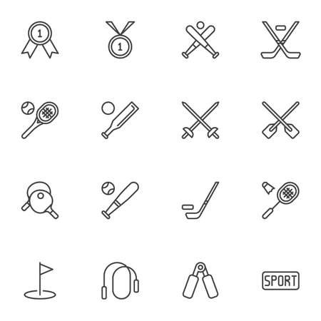 Sports equipment line icons set, outline vector symbol collection, linear style pictogram pack. Signs, logo illustration. Set includes icons as champion medal, baseball, hockey, tennis, skipping rope