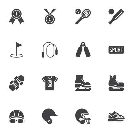 Sports equipment vector icons set, modern solid symbol collection, filled style pictogram pack. Signs logo illustration. Set includes icons as golf, rugby helmet, sport shoe, swimming, ice skate, ball Illustration