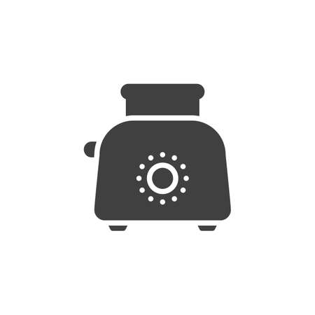 Toaster with toast vector icon. filled flat sign for mobile concept and web design. Electric toaster glyph icon. Symbol,  illustration. Vector graphics  イラスト・ベクター素材