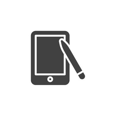 Graphic tablet vector icon. filled flat sign for mobile concept and web design. Digital drawing tablet with stylus glyph icon. Symbol,  illustration. Vector graphics