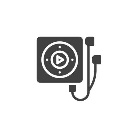 Portable musical player with headphones vector icon. filled flat sign for mobile concept and web design. Mp3 player glyph icon. Symbol,  illustration. Vector graphics