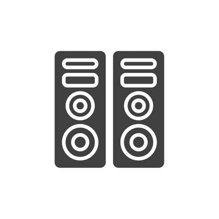 Two audio speakers vector icon. filled flat sign for mobile concept and web design. Sound system glyph icon. Symbol,  illustration. Vector graphics