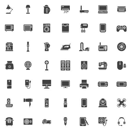 Electronic devices vector icons set, modern solid symbol collection, filled style pictogram pack. Signs, illustration. Set includes icons as kitchen appliances, electric mixer, coffee machine Ilustración de vector