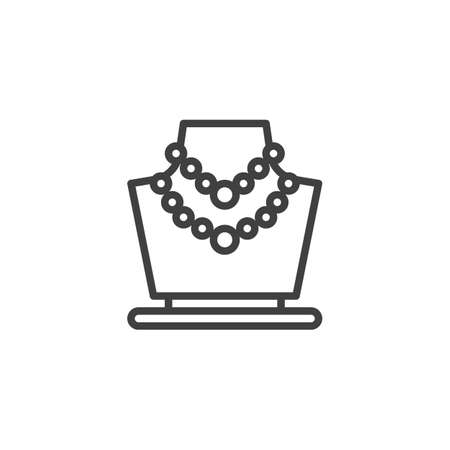 Beads necklace on a mannequin line icon. linear style sign for mobile concept and web design. Womens jewelry necklace outline vector icon. Symbol, logo illustration