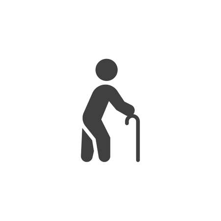 Man with cane vector icon. filled flat sign for mobile concept and web design. Man with walking stick glyph icon. Symbol, logo illustration. Vector graphics