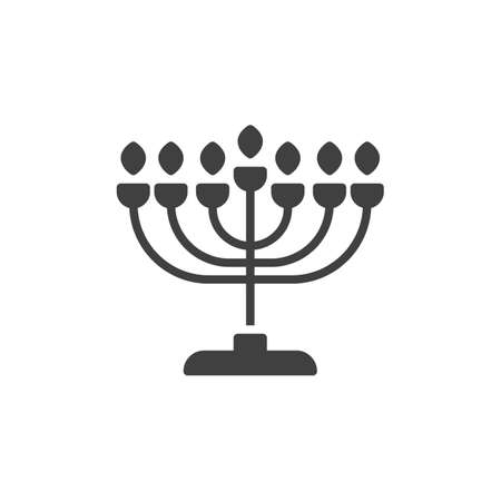 Hanukkah menorah vector icon. filled flat sign for mobile concept and web design. Menorah candlestick glyph icon. Symbol, logo illustration. Vector graphics Ilustracja