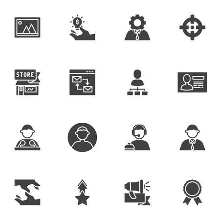 Business and management vector icons set, modern solid symbol collection, filled style pictogram pack. Signs, logo illustration. Set includes icons as support, businessman, speaker, handshake, target