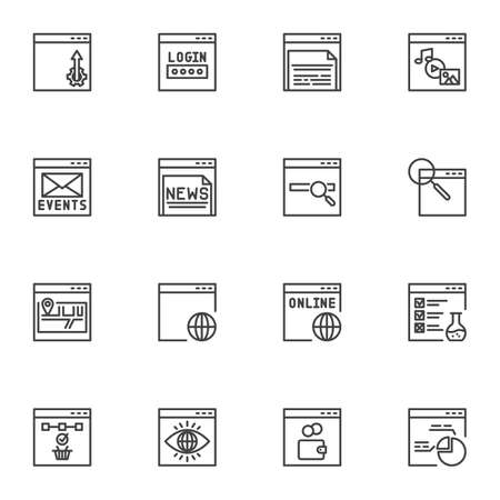 Web developing line icons set, SEO outline vector symbol collection, linear style pictogram pack. Signs, logo illustration. Set includes icons as website login password, online monitoring, sitemap Ilustracja