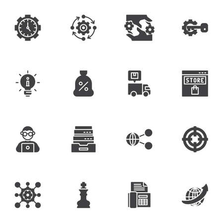 SEO vector icons set, modern solid symbol collection, filled style pictogram pack. Signs, logo illustration. Set includes icons as time management, information, link share, online store, setting gears Ilustracja