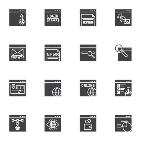 Web developing vector icons set, modern solid symbol collection, SEO filled style pictogram pack. Signs, logo illustration. Set includes icons as website login password, online monitoring, sitemap