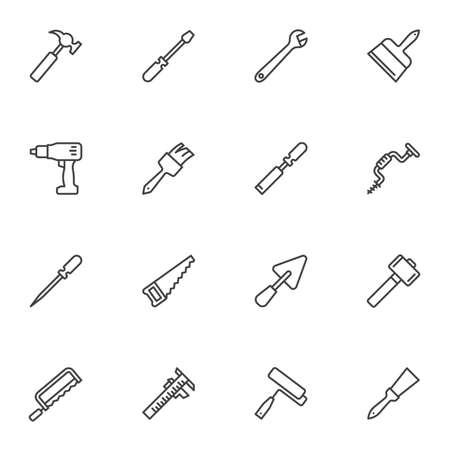 Construction tool line icons set, outline vector symbol collection, linear style pictogram pack. Signs, logo illustration. Set includes icons as spanner, hammer, paintbrush, saw, electric screwdriver Logo