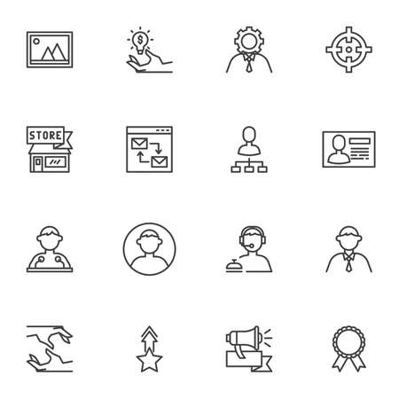 Business and management line icons set, outline vector symbol collection, linear style pictogram pack. Signs, logo illustration. Set includes icons as support, businessman, speaker, handshake, target