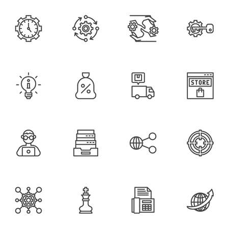 SEO line icons set, outline vector symbol collection, linear style pictogram pack. Signs, logo illustration. Set includes icons as time management, information, link share, online store, setting gears Ilustracja