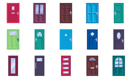 Doors types collection, flat icons set, Colorful symbols pack contains - front door with glass, handle and post slot. Vector illustration. Flat style design 向量圖像