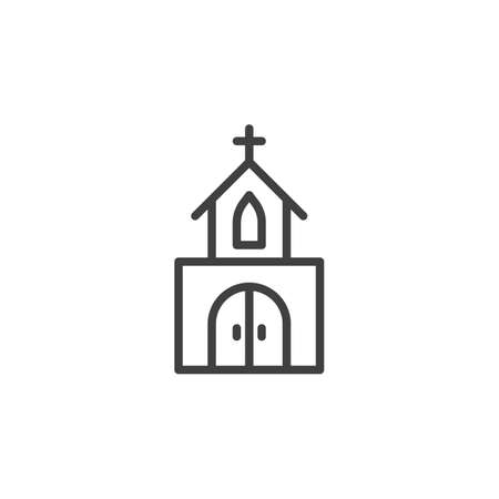 Church building line icon. linear style sign for mobile concept and web design. Church chapel outline vector icon.  Vector graphics