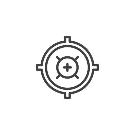Aim, target line icon. linear style sign for mobile concept and web design. Sniper aim outline vector icon.  Vector graphics