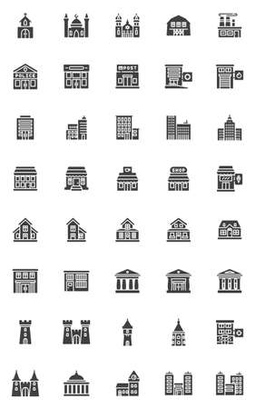 City buildings vector icons set, modern solid symbol collection, filled style pictogram pack. Signs, logo illustration. Set includes icons as hospital, police department, school, bank, court house