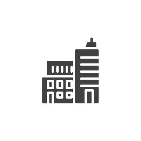 Business building vector icon. Cityscape filled flat sign for mobile concept and web design. Office architecture glyph icon. Symbol, logo illustration. Vector graphics