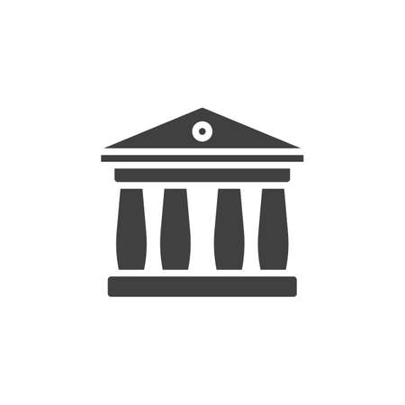 Court house building vector icon. filled flat sign for mobile concept and web design. Bank building with columns glyph icon. Symbol, logo illustration. Vector graphics Ilustração
