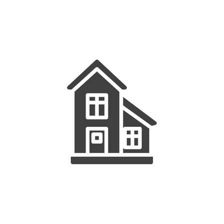 Townhouse, cottage building vector icon. filled flat sign for mobile concept and web design. Country house glyph icon. Symbol, logo illustration. Vector graphics