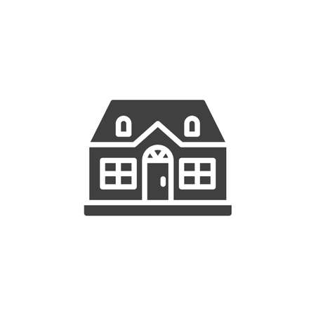Cottage house building vector icon. filled flat sign for mobile concept and web design. Suburban house glyph icon. Symbol, logo illustration. Vector graphics Ilustração