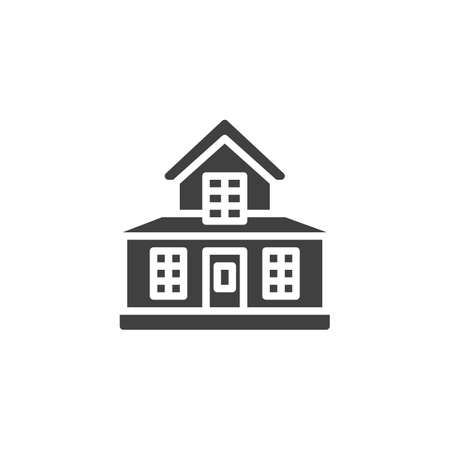 Suburban residential house vector icon. filled flat sign for mobile concept and web design. Country house building glyph icon. Symbol, logo illustration. Vector graphics