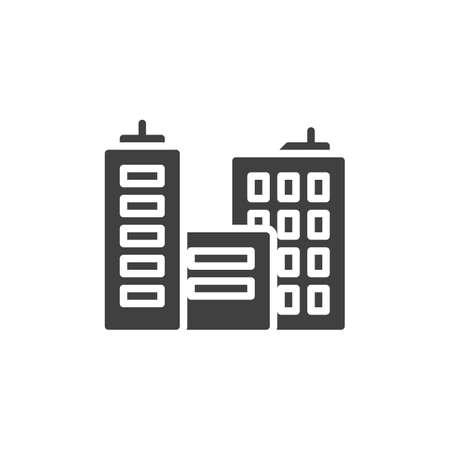 Skyline buildings vector icon. filled flat sign for mobile concept and web design. City buildings glyph icon. Symbol, logo illustration. Vector graphics