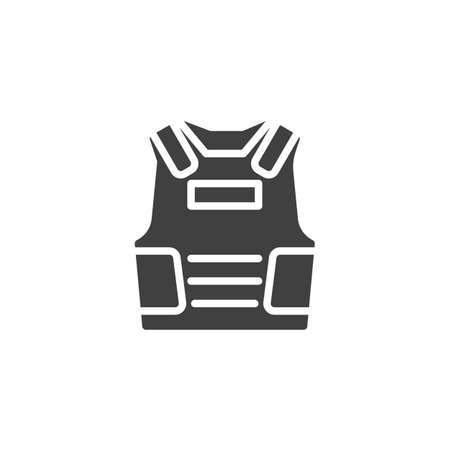 Bulletproof vest vector icon. filled flat sign for mobile concept and web design. Armor vest glyph icon. Symbol, logo illustration. Vector graphics