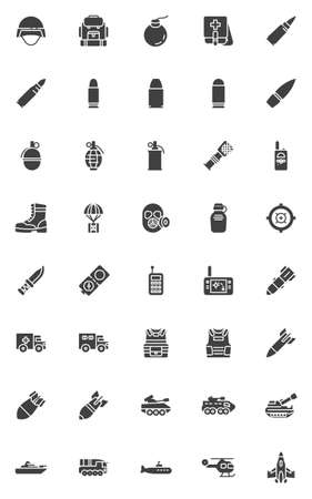 Military vector icons set, modern solid symbol collection, filled style pictogram pack. Signs, logo illustration. Set includes icons as military army transportation, jet fighter, armored tank, rocket