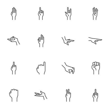 Human hand gestures line icons set, outline vector symbol collection, linear style pictogram pack. Signs, logo illustration. Set includes icons as arm fist up, hand ok sign, one finger pointing, palm