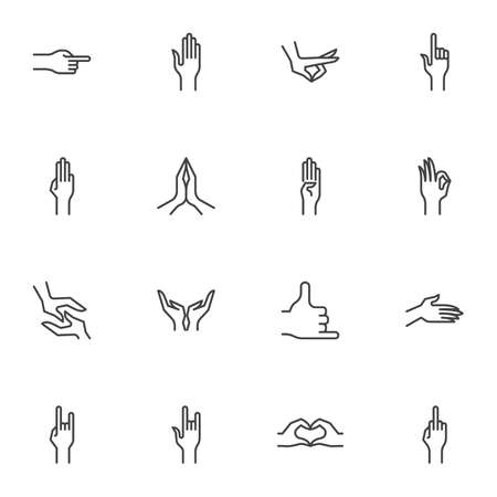 Hand gestures line icons set, outline vector symbol collection, linear style pictogram pack. Signs logo illustration. Set includes icons as middle finger pointing, heart shape, praying hands, touching 免版税图像 - 157533044