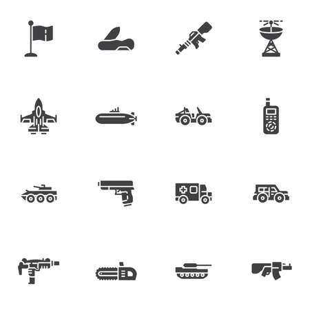 Military ammunition vector icons set, modern solid symbol collection, filled style pictogram pack. Signs, logo illustration. Set includes icons as jet fighter plane, submarine, suv, tank, gun, pistol