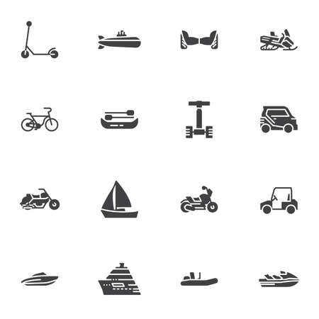 City transportation vector icons set, modern solid symbol collection, filled style pictogram pack. Signs, logo illustration. Set includes icons as bicycle, electric scooter, motorcycle, snowmobile