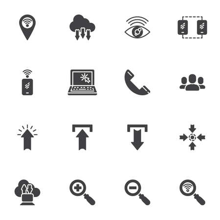 Social media and communication vector icons set, modern solid symbol collection, filled style pictogram pack. Signs logo illustration. Set includes icons - laptop computer, smartphone, cloud computing