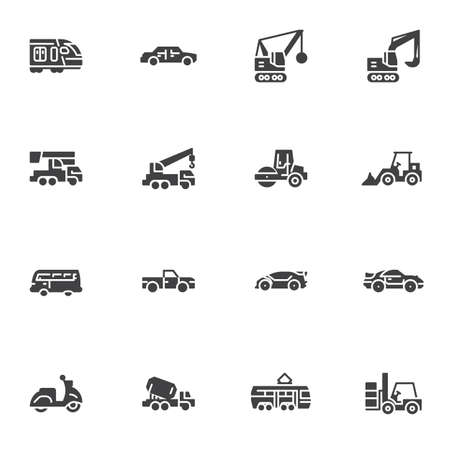 Transportation vector icons set, modern solid symbol collection, filled style pictogram pack. Signs, logo illustration. Set includes icons as construction vehicle, excavator, forklift car, scooter Ilustracja