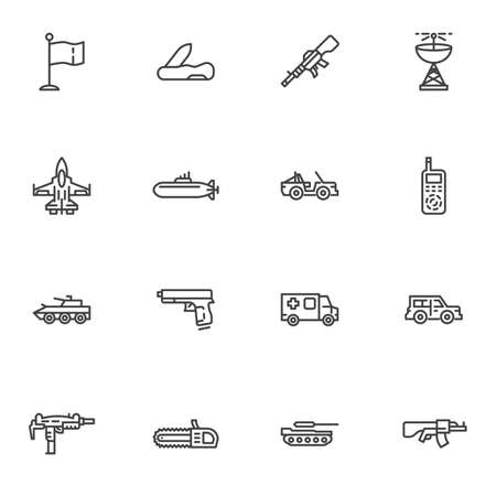 Military ammunition line icons set, outline vector symbol collection, linear style pictogram pack. Signs, logo illustration. Set includes icons as jet fighter plane, submarine, suv, tank, gun, pistol
