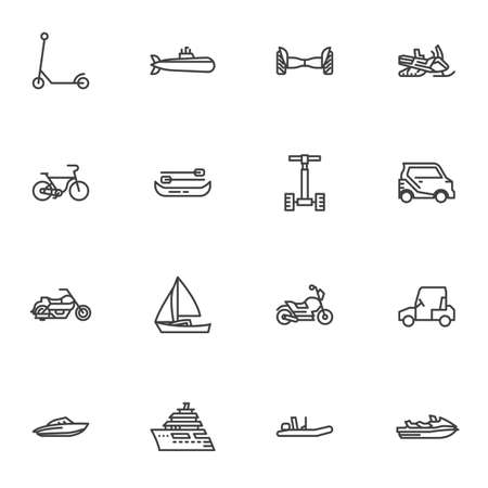 City transportation line icons set, outline vector symbol collection, linear style pictogram pack. Signs, logo illustration. Set includes icons as bicycle, electric scooter, motorcycle, snowmobile Illustration