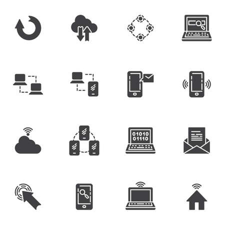 Network connection vector icons set, social media modern solid symbol collection, filled style pictogram pack. Signs logo illustration. Set includes icons - computer server connection, cloud computing 矢量图像