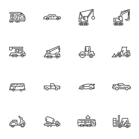 Transportation line icons set, outline vector symbol collection, linear style pictogram pack. Signs, logo illustration. Set includes icons as construction vehicle, excavator, forklift car, scooter Ilustracja