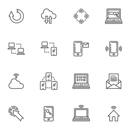 Network connection line icons set, social media outline vector symbol collection, linear style pictogram pack. Signs logo illustration. Set includes icons - computer server connection, cloud computing