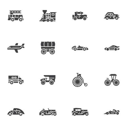 Retro transportation vector icons set, modern solid symbol collection, filled style pictogram pack. Signs, logo illustration. Set includes icons as locomotive, van truck, bicycle, sports car, coach