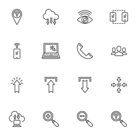 Social media and communication line icons set, outline vector symbol collection, linear style pictogram pack. Signs logo illustration. Set includes icons - laptop computer, smartphone, cloud computing
