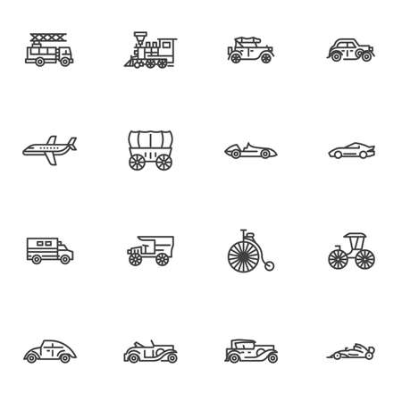 Retro transportation line icons set, outline vector symbol collection, linear style pictogram pack. Signs logo illustration. Set includes icons as locomotive, van truck, bicycle, sports car, coach 矢量图像