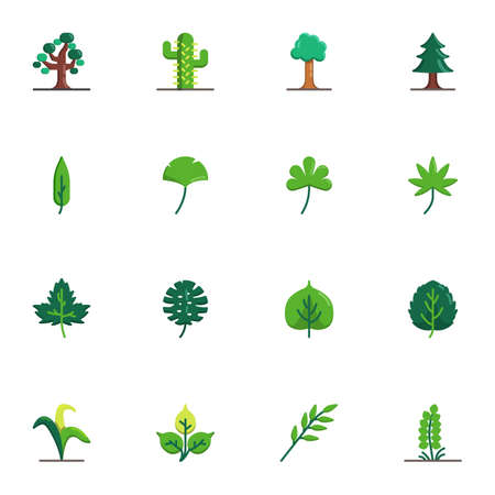 Tree and plants collection, flat icons set, Colorful symbols pack contains - maple tree leaf, succulent cactus, evergreen conifer tree. Vector illustration. Flat style design