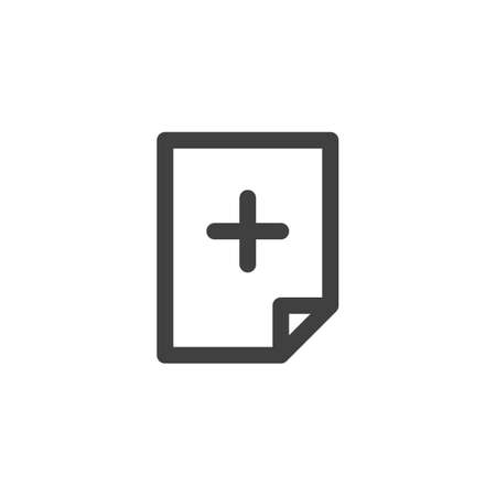 File create line icon. linear style sign for mobile concept and web design. Add document file outline vector icon. Symbol, logo illustration. Vector graphics