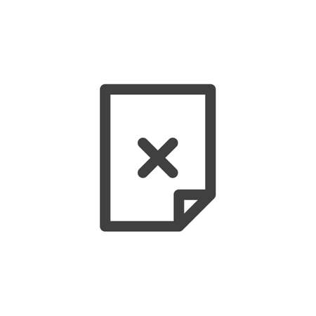 Reject document file line icon. linear style sign for mobile concept and web design. Error document outline vector icon. Symbol, logo illustration. Vector graphics 向量圖像