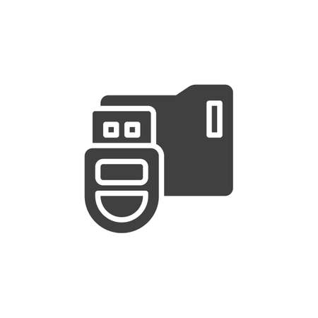 USB stick with folder vector icon. filled flat sign for mobile concept and web design. Data folder glyph icon. Symbol, logo illustration. Vector graphics